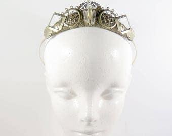 Elaria Crystal Quartz and Gold Filigree Crystal Tiara - by Loschy Designs
