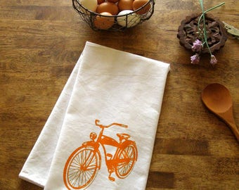 Bicycle Tea Towel - Red Kitchen Towels Bike decor Screen Print Vintage prints Kitchen Wholesale tea towels Holiday gifts stocking stuffer's