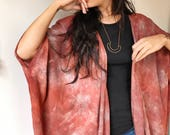 Drape Jacket in Clay, Hand Dyed, Kimono Jacket, Rayon, Anna Joyce