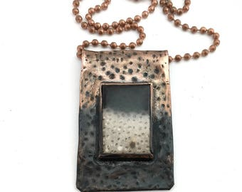 Petrified Palm Fossil and Textured Oxidized Copper Pendant