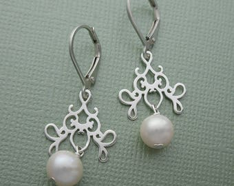 Palace Pearl - pearl and sterling silver charm drop earrings