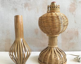 vintage rattan table lamp // natural decor
