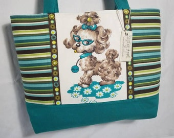 Poodles Vintage 50s fabric purse tote Bags by April Dogs