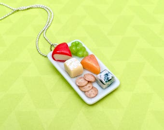 Cheese Platter Pendant Necklace - polymer clay miniature food jewelry