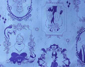 Disney Villains Frames Light Purple Cotton Fabric Yardage Ursula Maleficent Cruella de Ville Evil Queen