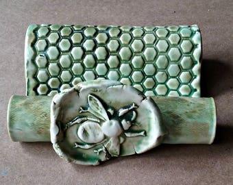 Ceramic Sponge Holder Business Card Holder Cell phone holder Moss green Bee