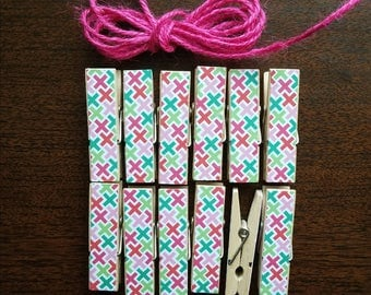 Clothesline Bunting, Crosses, X and 0, Little Clothespin Clips for Display, Set of 12, Girl Baby Birthday, Pink Twine, Ready to Ship, XOXO