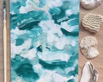 Crashing Waves original 5x7 painting - free shipping