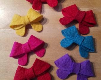 Mini Hair Clips, Mini Felt Bow Clips, Felt Hair Clip, Gift for Her, Hand Made