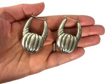 80s HUGE Tribal Silver Hoop Earrings / Big Vintage Hollow Puffy Hippie Boho Gypsy Bohemian Statement Jewelry