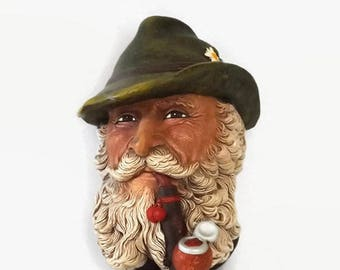 1972 Bosson's Chalkware Tyrolean Alps Head, Vintage Collectible Alpine Man with Pipe Wall Plaque, Made in England