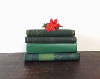 Mixed Lot 4 Green Vintage HC Books, Christmas Table Decor, Instant Collection for Home Library