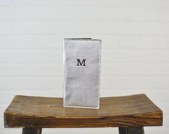 Silver Leather Travel Passport Wallet with Personalized Initial - Custom Gift for Wife Sister Friend Woman Mom Girlfriend Wedding Bride