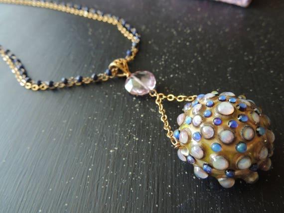 Artisan Pendant Lampwork Lapis and Pink Topaz