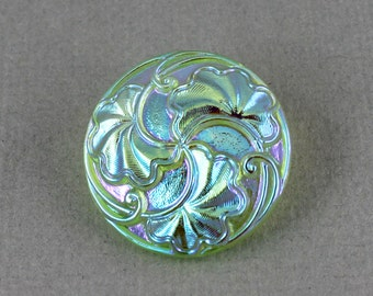 Light Green leafy Czech glass button, jewelry, embellishment, knitting, crocheting, sewing, luster finish - 27mm - 1 pc - GBN358