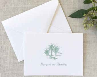 Folded Palm Tree Thank You Notes, Palm Note Cards, Beach Thank You Notes, Wedding Thank You Notes, Tropical Stationery - SET OF 10 Cards