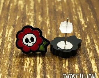 Skull Flower Earrings