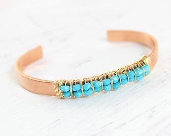 Turquoise Gemstone Bracelet, Turquoise Cuff Bracelet, Sky Blue Bracelet, December Birthstone Bracelet, Beaded Bangle Bracelet, Copper Cuff