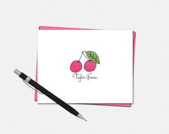 Cherry Note Cards - Personalized Cherry Note Cards - Personalized Folded Cherry Note Cards - Cherry Stationery
