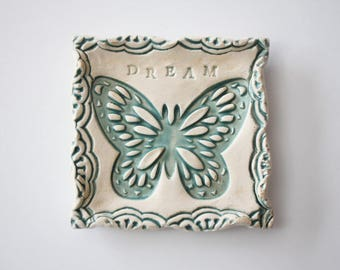 Square Trinket Dish or Coin dish - Butterfly Dish - Teal and Cream - Dream dish
