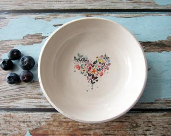Butterfly heart tiny bowl or tea bag holder, glazed in white with colorful butterfly art