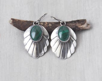 Vintage Malachite Earrings - sterling silver Southwestern stamped scalloped leaf shape - french hook earwires