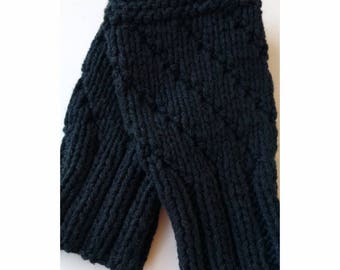 BLACK Darting Diagonals Fingerless Gloves, COTTON and SILK Knit Mitts / Gauntlets for Men and Women, Unisex, Mitts, Mittens, Texting
