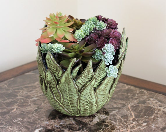 Succulent Planter - Cactus Planter - Ceramic Planter - Candle Holder - Mother's Day - Pottery - Fern Pottery - Leaf Pottery - FREE SHIPPING