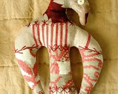 One of a Kind Americana Eagle Pincushion Ornament, Turkey Red, Antique French Textiles