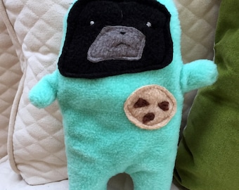 "Tatum - The ""Snackie Time"" Black Pug-Jama Party Bummlie ~ Stuffing Free Dog Toy - Ready To Ship Today ~ Aqua Pajamas"