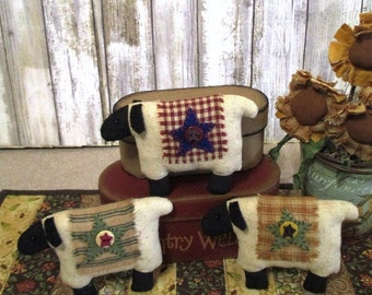 Primitive Country Sheep Ornament Bowl Filler  Set of three