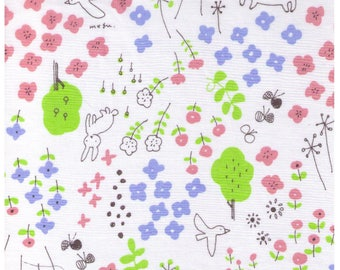 HALF YARD Yuwa - Bunny Fox in Flower Forest on WHITE - Megumi Sakakibara Collection 1808L0F - Cotton Lawn - Line Drawing - Japanese