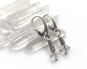 Herkimer Diamond Crystal Double Point Sterling Silver Wire Wrapped Earrings Pierced Lever Back Earwires