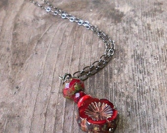 Red Bead Necklace - Floral Necklace - Focal Bead Necklace - Bead Necklace - Red Necklace - Holiday Necklace - Holiday Jewelry