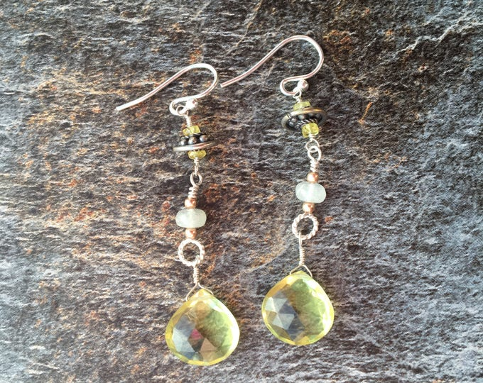 Lemon Quartz, Yellow Sapphire and Bali Silver Earrings gift