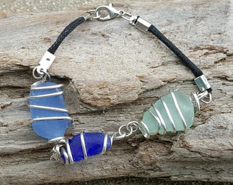 California Sea Glass Sterling Wrapped Bracelet Cotton Cord 8""