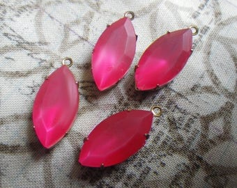 Matte Fuchsia Pink 18x9mm Painted Glass Navette Brass Ox Earring Drops 4 Pcs