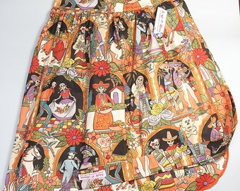 Half Apron - Vintage Pin Up Skirt Style - Day Of The Dead