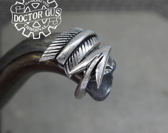 Arrow Ring - Adjustable - Doctor Gus Handcrafted Jewelry Creations - Pewter Arrow Ring - Men's Rings - Made in USA - Tribal Ring with Arrow
