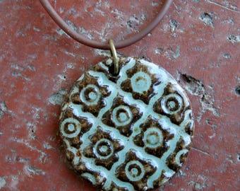 Robins Egg Patterned Stoneware Pendant, focal pendant, muddyfingers