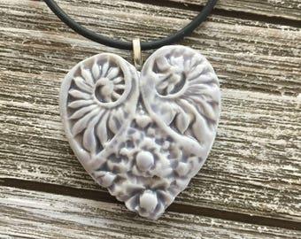Pale Lavender Victorian Heart Porcelain Pendant