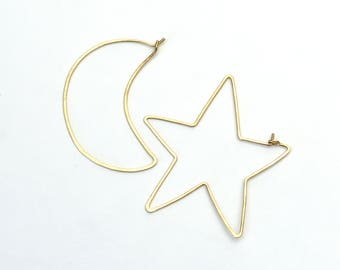Moon Star Gold filled rose gold filled sterling silver hoop earrings crescent constellation galaxy hammered statement earrings