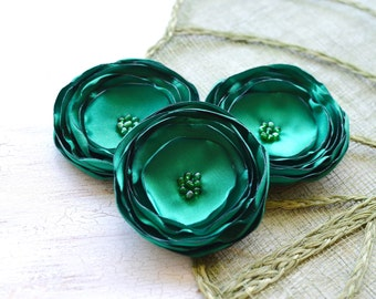 Handmade large satin flower appliques, fabric flowers bulk, fake flowers, flowers for vases, bridal flowers (3pcs)- EMERALD GREEN BLOSSOMS