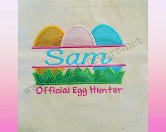 Easter Egg Name Embroidery design! Great for Easter Egg hunt totes. T-shirts and more! Customize!