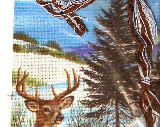 White tailed deer Needlework Candamar Designs 50855 kit quick easy animal nature lover picture Unused Gift men dad husband
