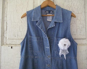 Vintage DENIM FARMHOUSE DRESS Jumper Classic Vintage 1990s