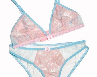 Pantone pink and blue lingerie set- lace see through pastel baby light nylon bralet bra knickers panties panty Marie Antoinette lingerie set