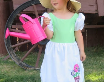 Mary Mary Quite Contrary, Mistress Mary, Cute Fairytale, nursery rhyme costume dress.  New and Handmade, Sizes 2 thru 8