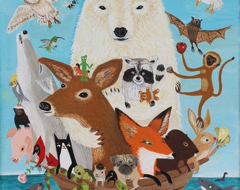 "Animal Art Print on Canvas - Sloth Turtle Snake Octopus Polar Bear Fox Wolf Badger Pig, Noah's Ark Artwork- 16""x20"" Kid's Room Vet's Office"