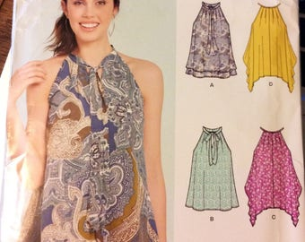 Uncut New Look 6450  Misses' Tops Sewing Pattern Size 6 -18 Bust 30-40 inches Complete Uncut